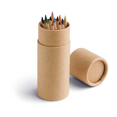bo te ronde avec 12 crayons de couleur publicitaire personnalis. Black Bedroom Furniture Sets. Home Design Ideas