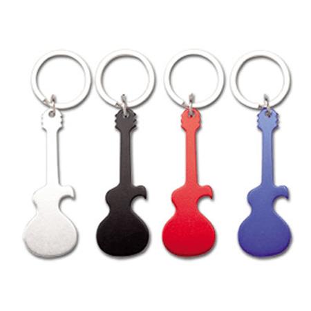 Decapsuleur Porte Clés Forme De Guitare En Aluminium Publicitaire - Porte clé decapsuleur personnalisé