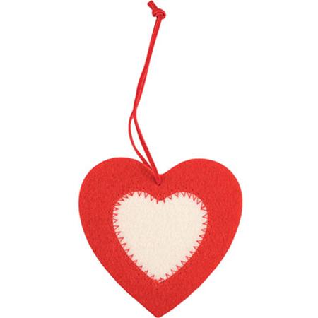 D coration feutrine coeur rouge et blanc publicitaire - Decoration coeur rouge ...