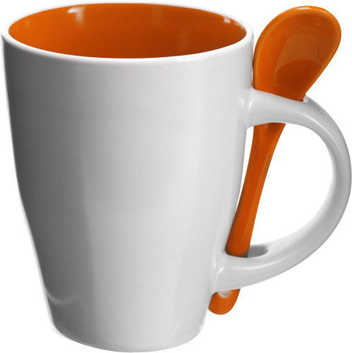 Mug en c ramique avec cuill re publicitaire personnalis - Position de la cuillere ...