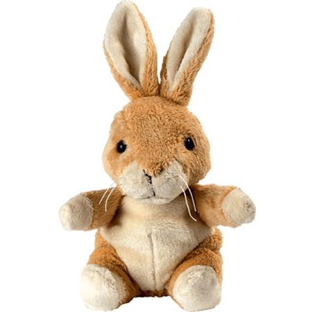 Peluche lapin beige assis 14 cm publicitaire personnalis - Peluche lapin marron ...