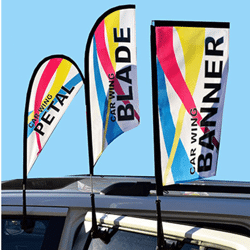 Clip-on car wing window flag double sided
