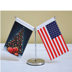 Double mini drapeau de table ajustable