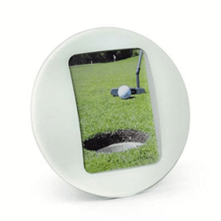 Porte-photos blanc rond - 90x130 mm