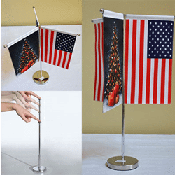 Triple drapeau de table ajustable